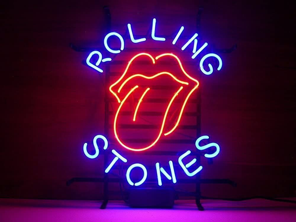 The Rolling Stones logo real glass neon light for a home