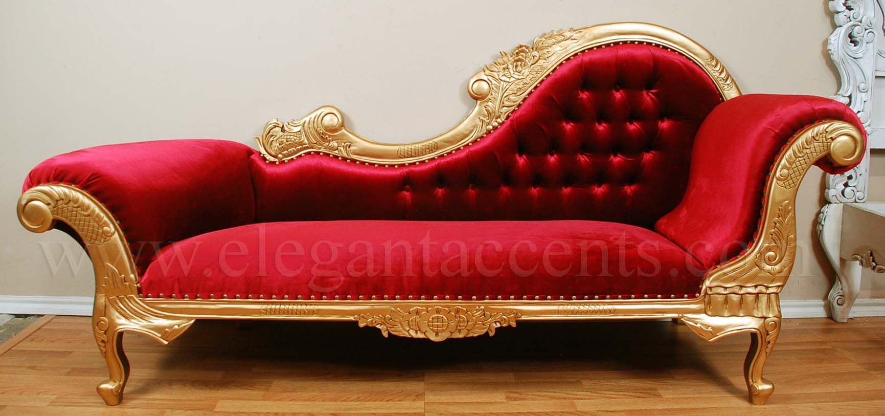 Victorian Chaise Gold Red Lounge Couch Sofa Chair Lounges Divan