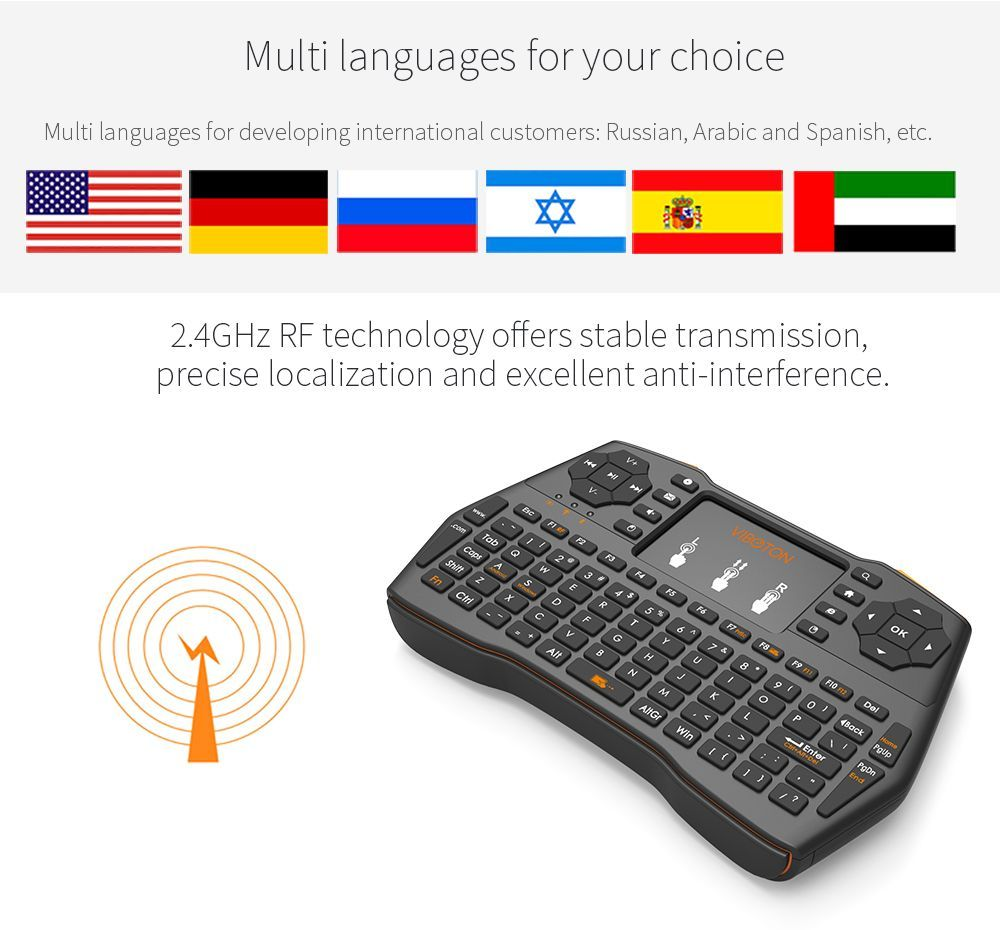 I8 Plus Mini 2.4GHZ Wireless Keyboard Touchpad Mouse For