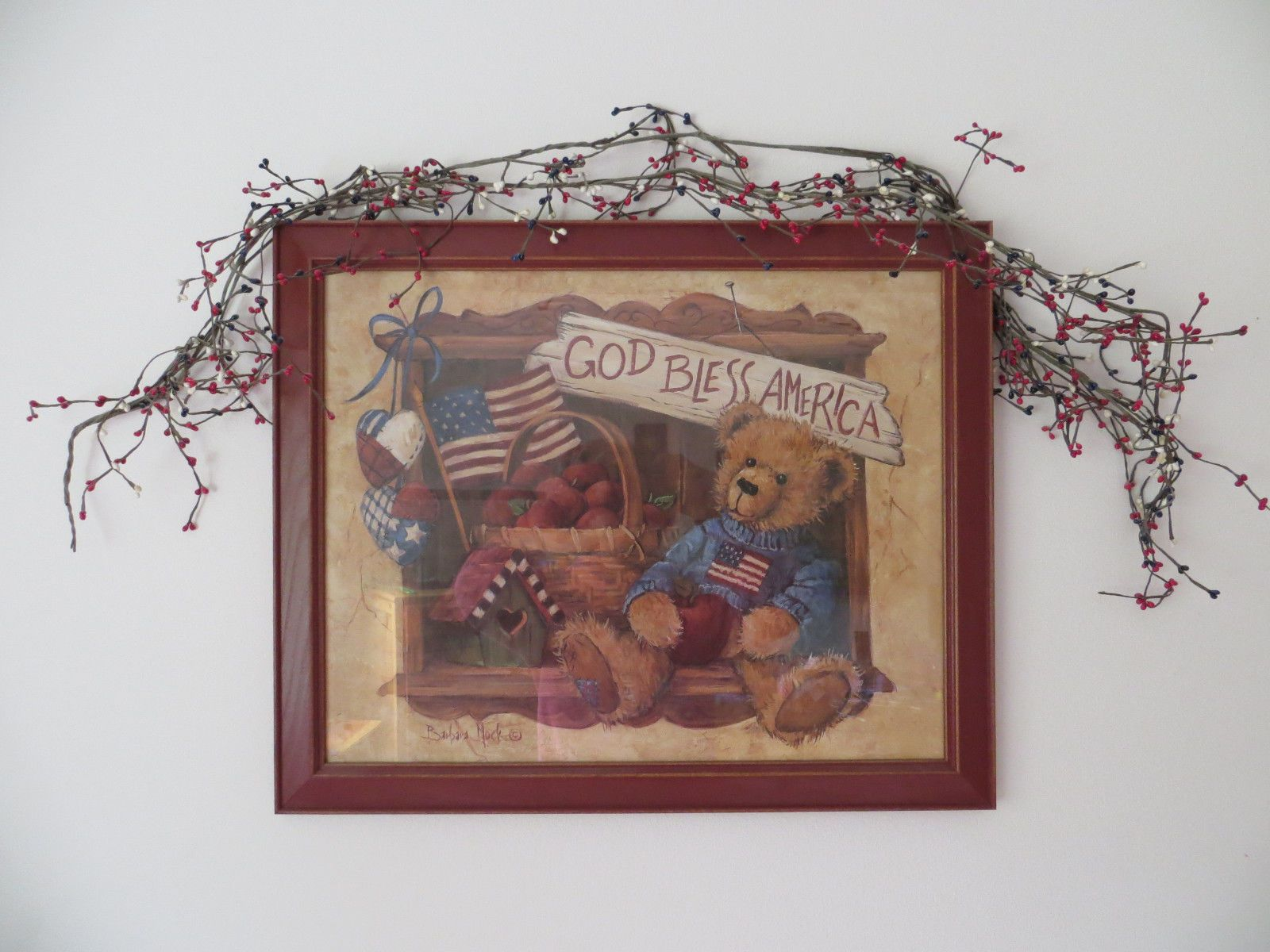 Details About Home Interiors Country Teddy Bear Framed Print