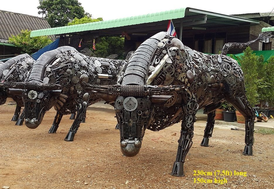 Metal Bull Statues Lifesize Bull Sculptures Scrap Metal Art For - Salvaged scrap metal transformed to create graceful kinetic steampunk sculptures