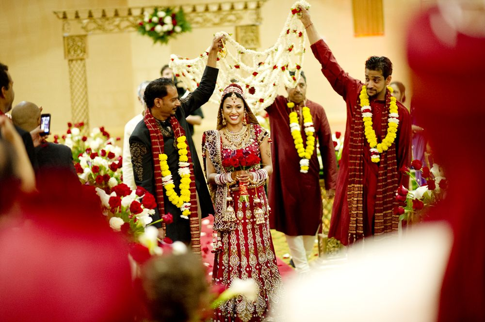 Indian Wedding Sari Red And Yellow Ceremony