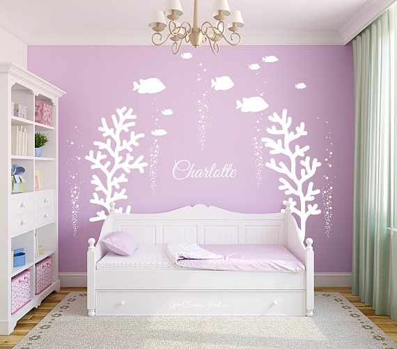 Coral Wall Decal Ocean Name Decal Girls Name Decal Coral ...