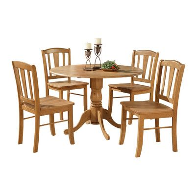 East West Dublin 5 Piece Dining Set Ii Round Kitchen Table Kitchen Table Settings Dinette Chairs