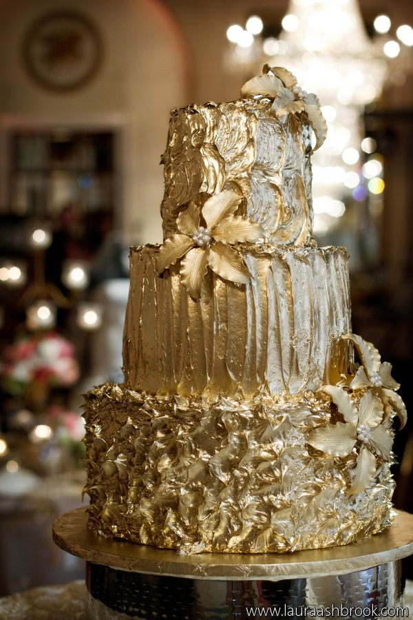 Gorgeous Gold Wedding Cake By The St Regis Hotel Washington DC Photographer Laura