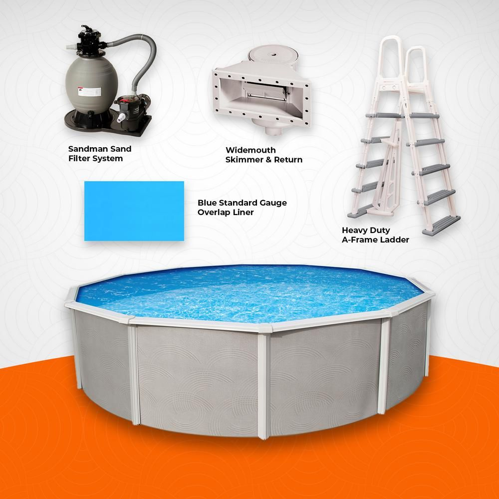 Blue Wave Maldives 15 Ft Round 52 In D X 6 In Top Rail Hard Sided Swimming Pool Package Nb19777 The Home Depot Swimming Pools Blue Waves Pool Companies