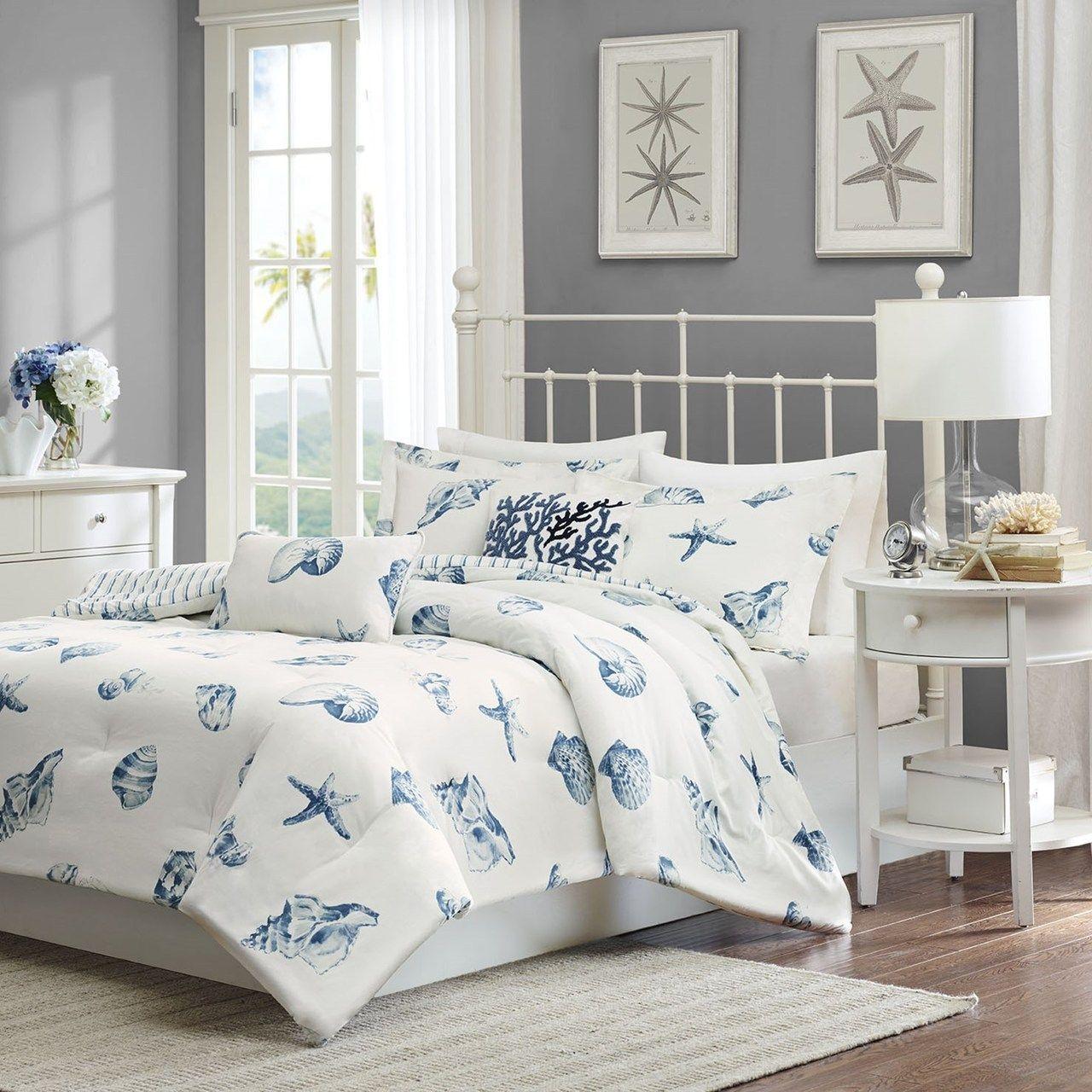 Beach House Blues Duvet Set King Size Синие спальни