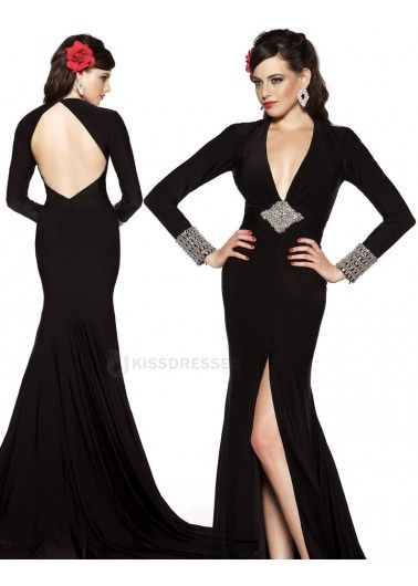 9fee142156 Elegant black evening gown with plunging neckline and low cut back ...