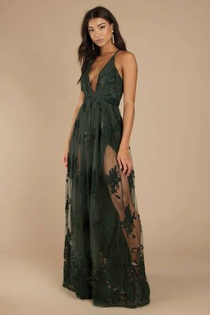 Analise Plunging Floral Maxi Dress in Emerald