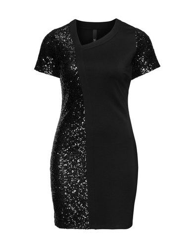 Sequin detail asymmetric neckline dress