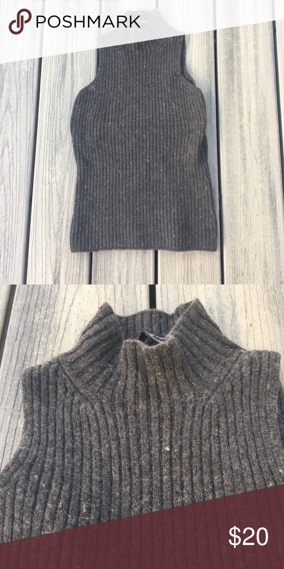 wool cowl neck tank top like new  100  wool ribbed dark charcoal color inventory  3c etcetera