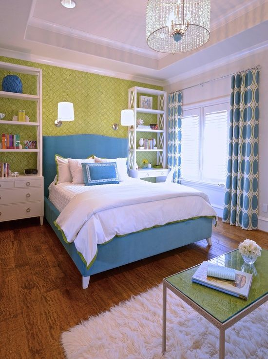 exciting teen girl bedroom green | Ash Tracy Hardenburg Desgins blue and green room with ...