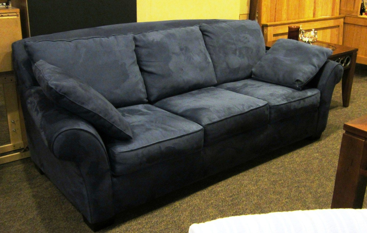 Blue Microsuede Sofa Very Comfortable Sofa In Great Condition