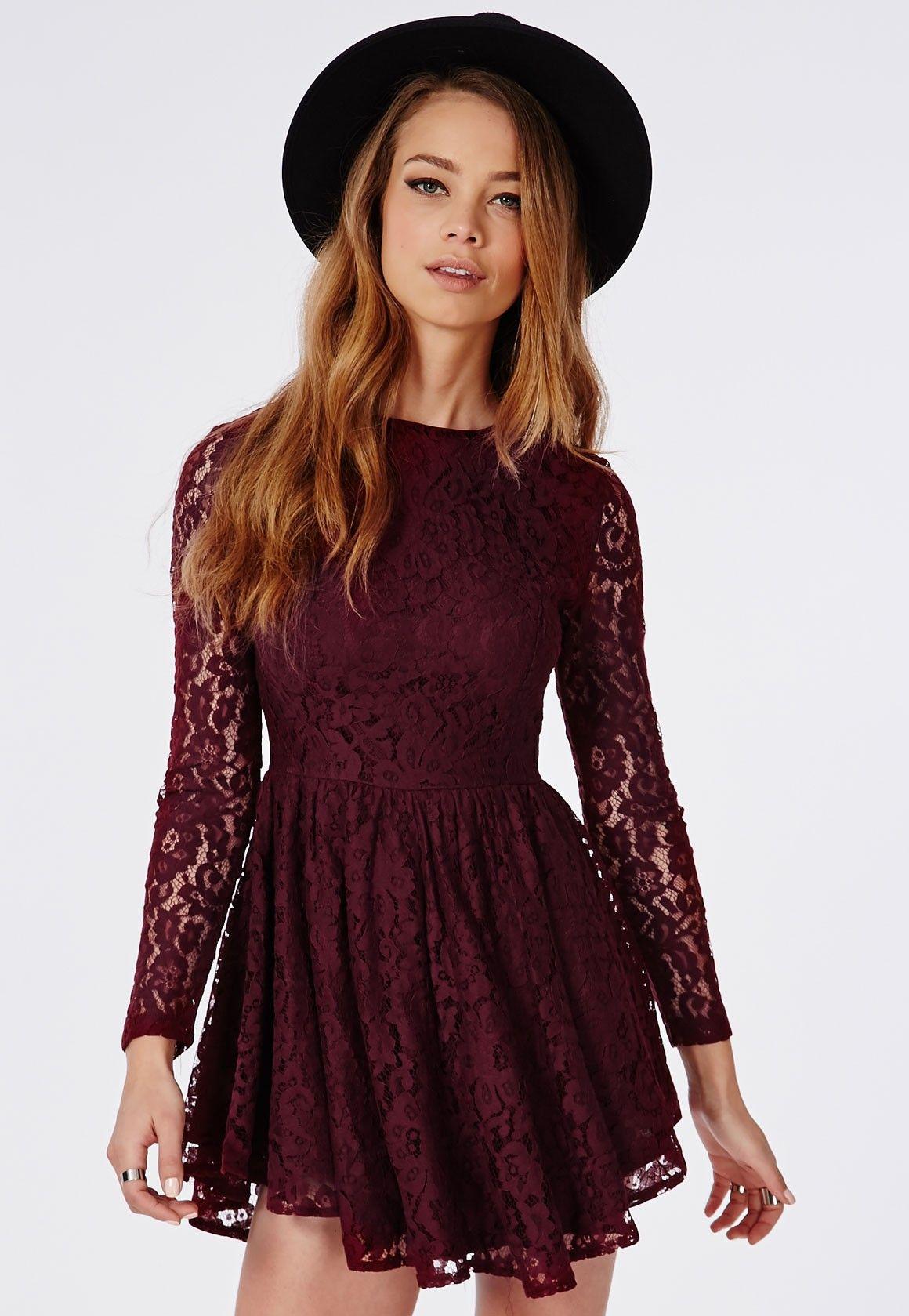 9001b47bc2 Curve Hem Lace Skater Dress Burgundy - Dresses - Skater Dresses - Missguided