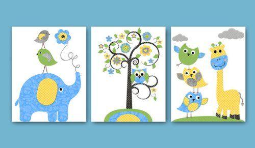 Unique Kinderzimmer Poster Set Giraffe und Elefant DIN A Matt Fairytale Kids http