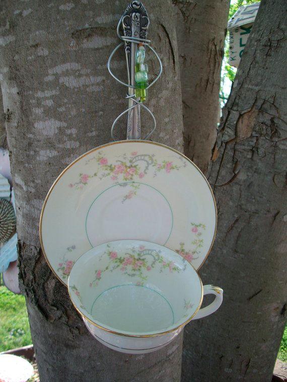 Bird Feeder Garden Art Recycled China Teacup by CarlaRaeVintage