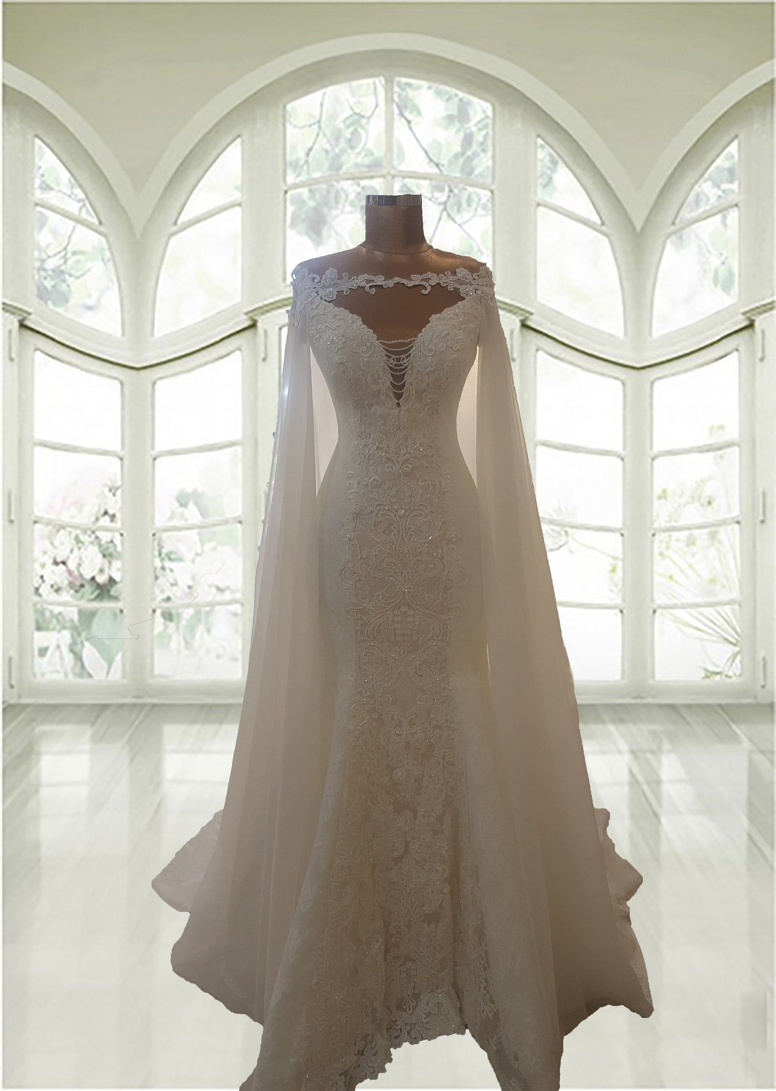 Mermaid Trumpet Lace Wedding Gown With Cape