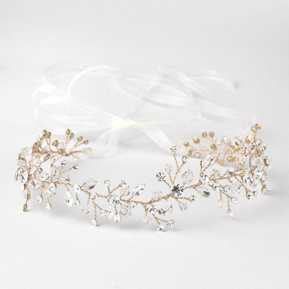 Clear Swarovski Crystal Bead Vine Bridal Wedding Ivory Organza Ribbon Accent Headband