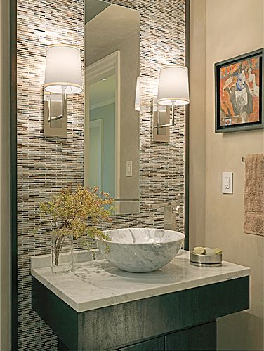 Powderroom With Marble Sink And Gorgeous Tile