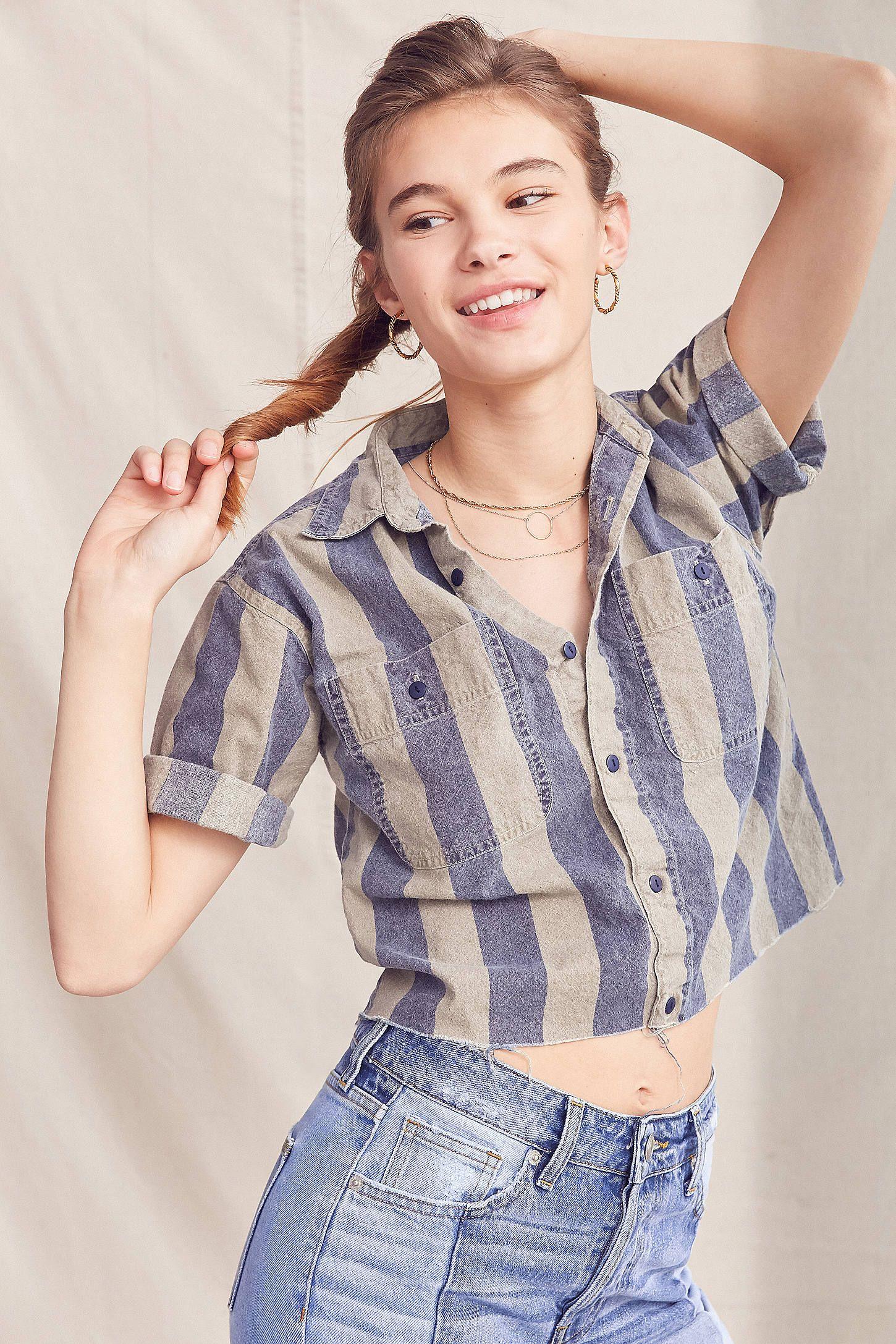 Vintage Striped Button Down Cropped Shirt Button Up Shirt Womens Crop Shirt Cropped Shirt Outfit