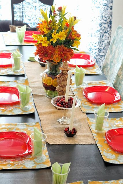 on Thanksgiving. Nice Table Setting. Centerpiece is eye-catching ...