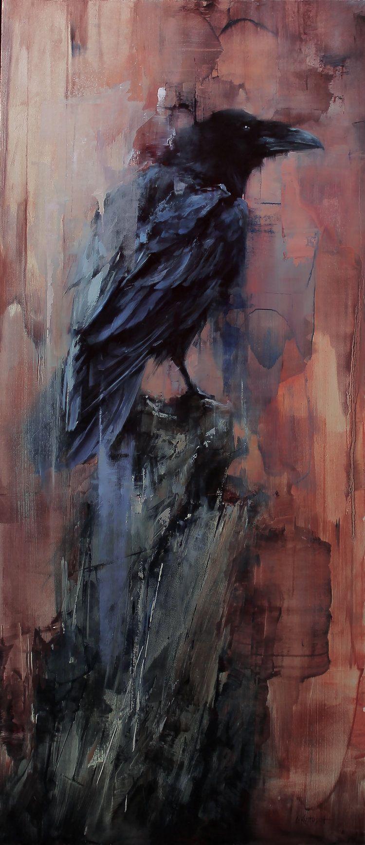 The Lookout | Corbeau en 2019 | Peinture oiseau, Corbeau ...  The Lookout | C...