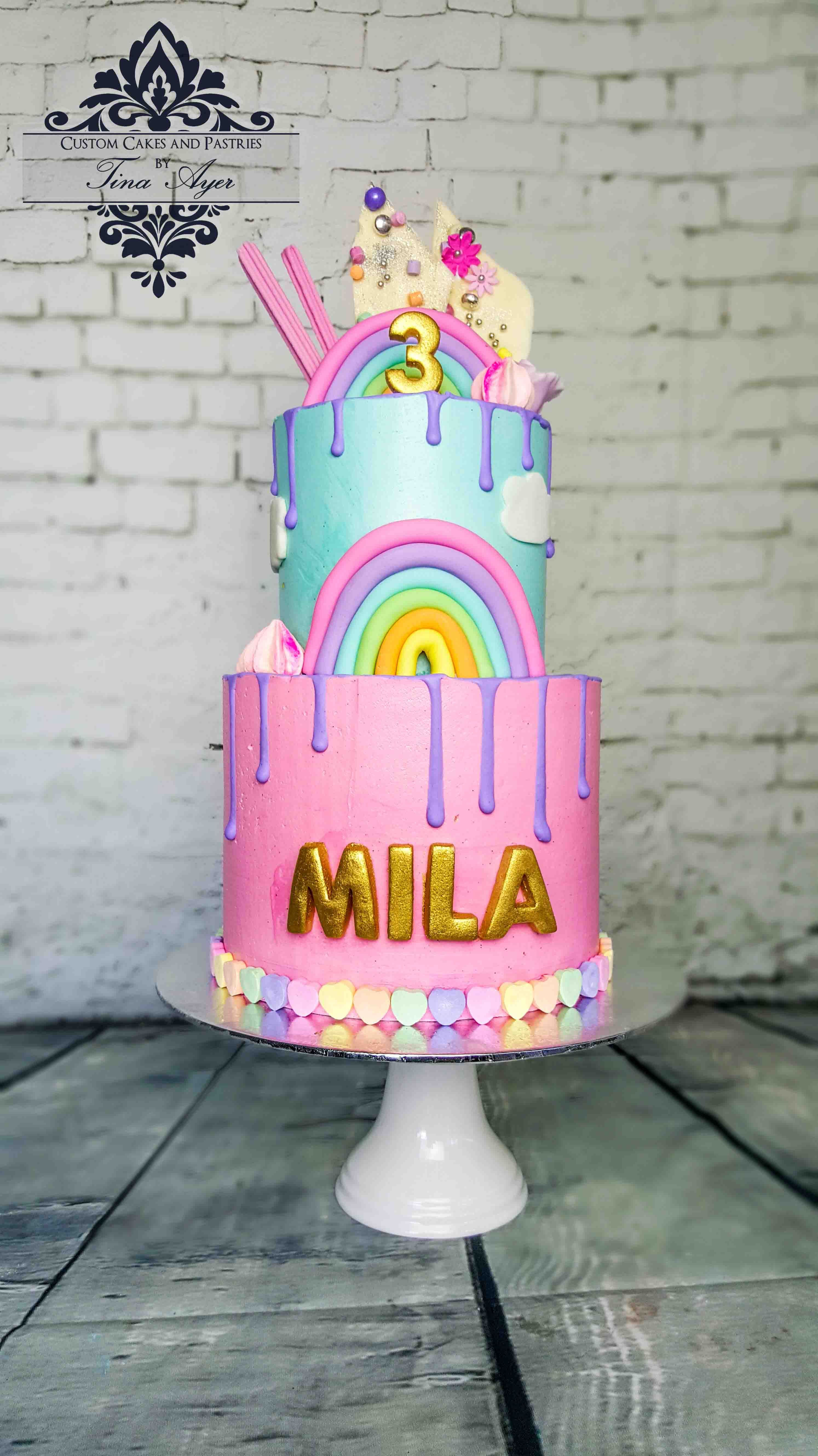 Drip Cake 2 Tier Rainbow Pastel With Hearts And Gold By Tina Ayer