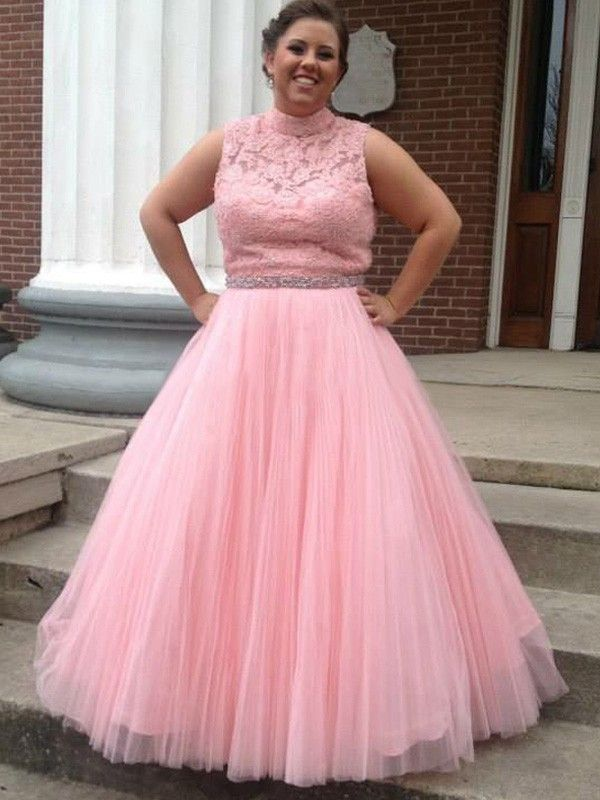 Elegant Plus Size Prom Dress,Pink Tulle Evening Dress,Floor ...