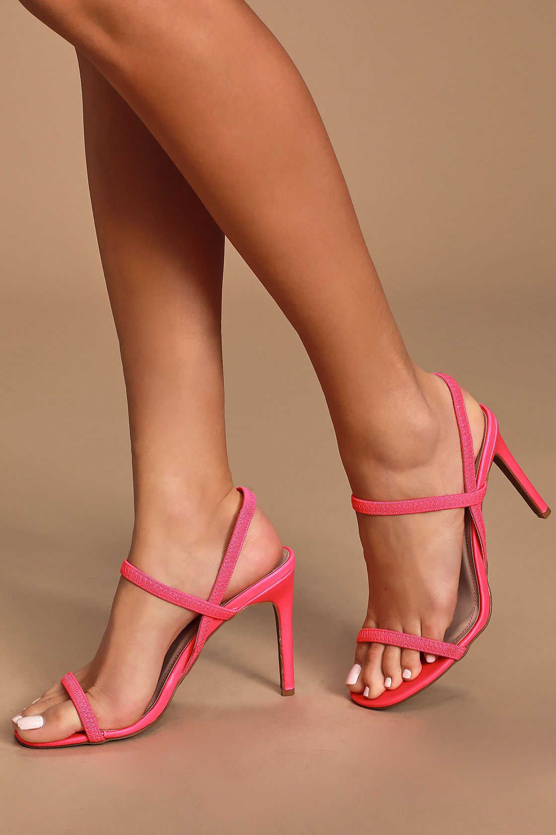 fantastic savings great deals timeless design Babie Neon Pink Strappy High Heel Sandals in 2020 | Pink strappy ...