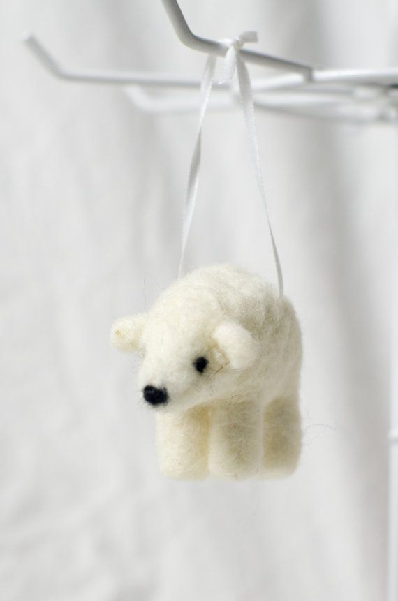 Polar bear, but love the felted wool. Needle Felted Wool Polar Bear Ornament by ahippiewithaminivan