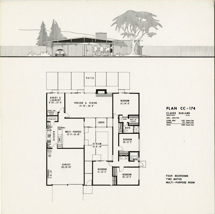 eichler plan cc 174 claude oakland eichlers On joseph eichler house plans