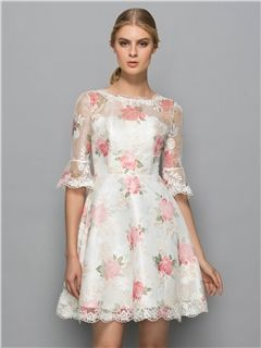 Ericdress Scoop Neck Print Lace Short Cocktail Dress