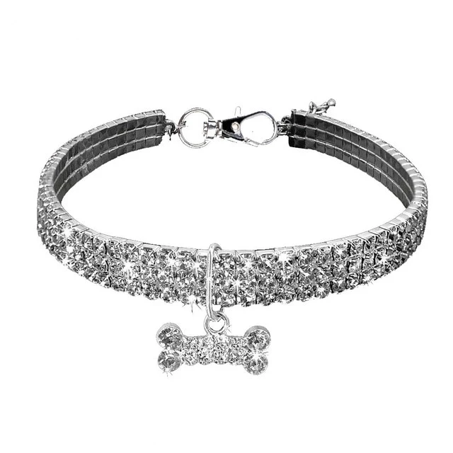 Silver Diamond Collar For Dogs Cats Bone Tag Glorytails Dog Bling Cute Dog Collars Fancy Dog