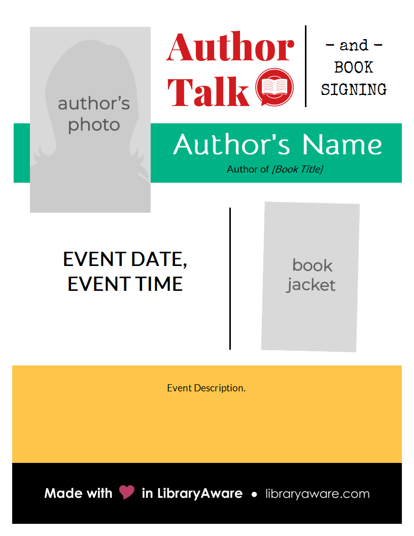 Promote Your Author Event With This Flyer Template Flyer Book Display Library Readadv Madeinlibraryaware Author Event Book Authors Author