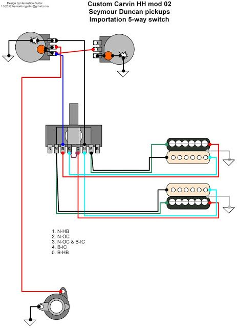 Hermetico Guitar: Wiring Diagram: Custom Carvin mods 02
