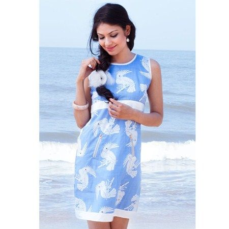 Dresses, Women, Inonit, Free Spirited, Parrot print dress