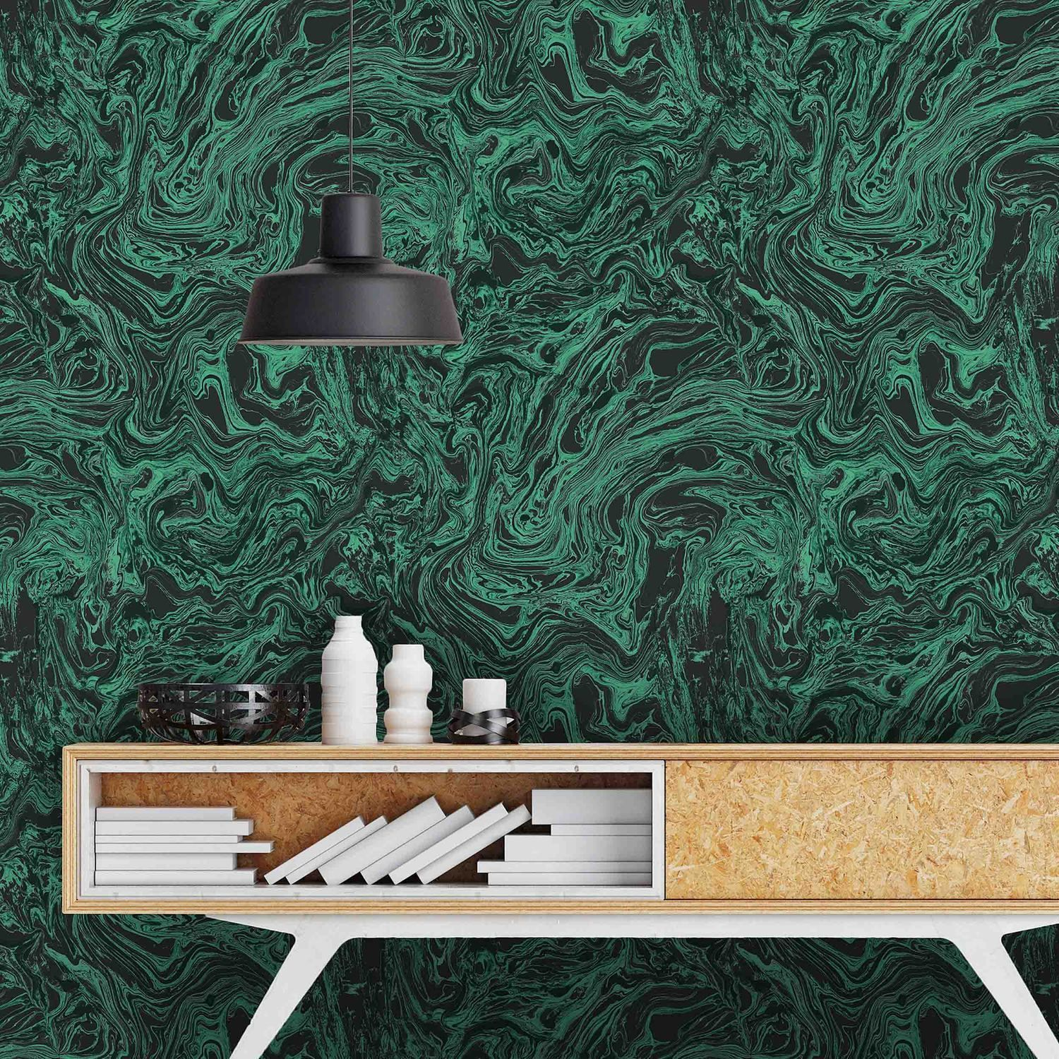 Marble Flow In Malachite Wallpaper by Woodchip & Magnolia