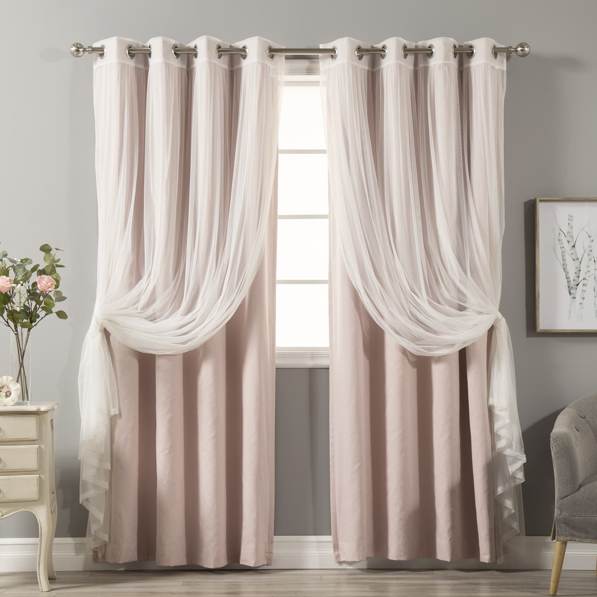 Aurora Home Mix Match Curtains Cotton Blackout And Tulle Lace