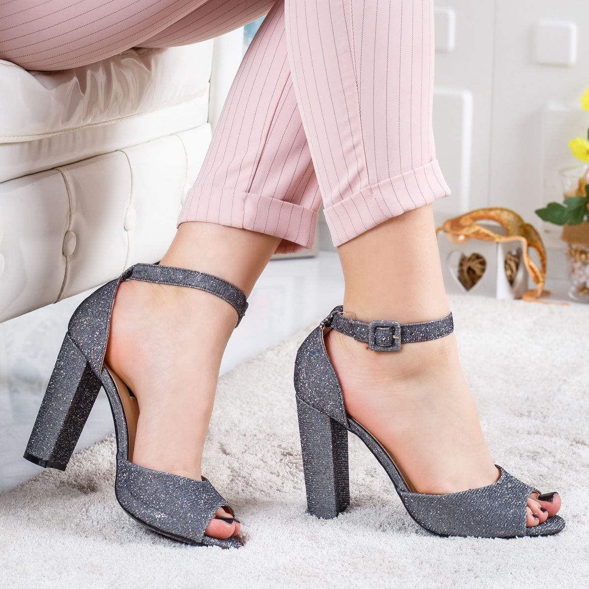 Sandale Dama Paritali Gri Elegante Fashion Heels Shoes