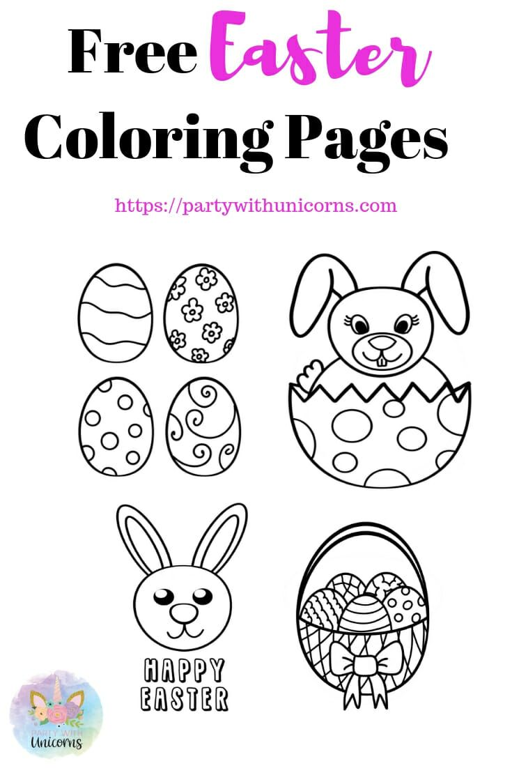 Easter Coloring Sheets Free Download Party With Unicorns Easter Coloring Sheets Easter Colouring Easter Coloring Pages