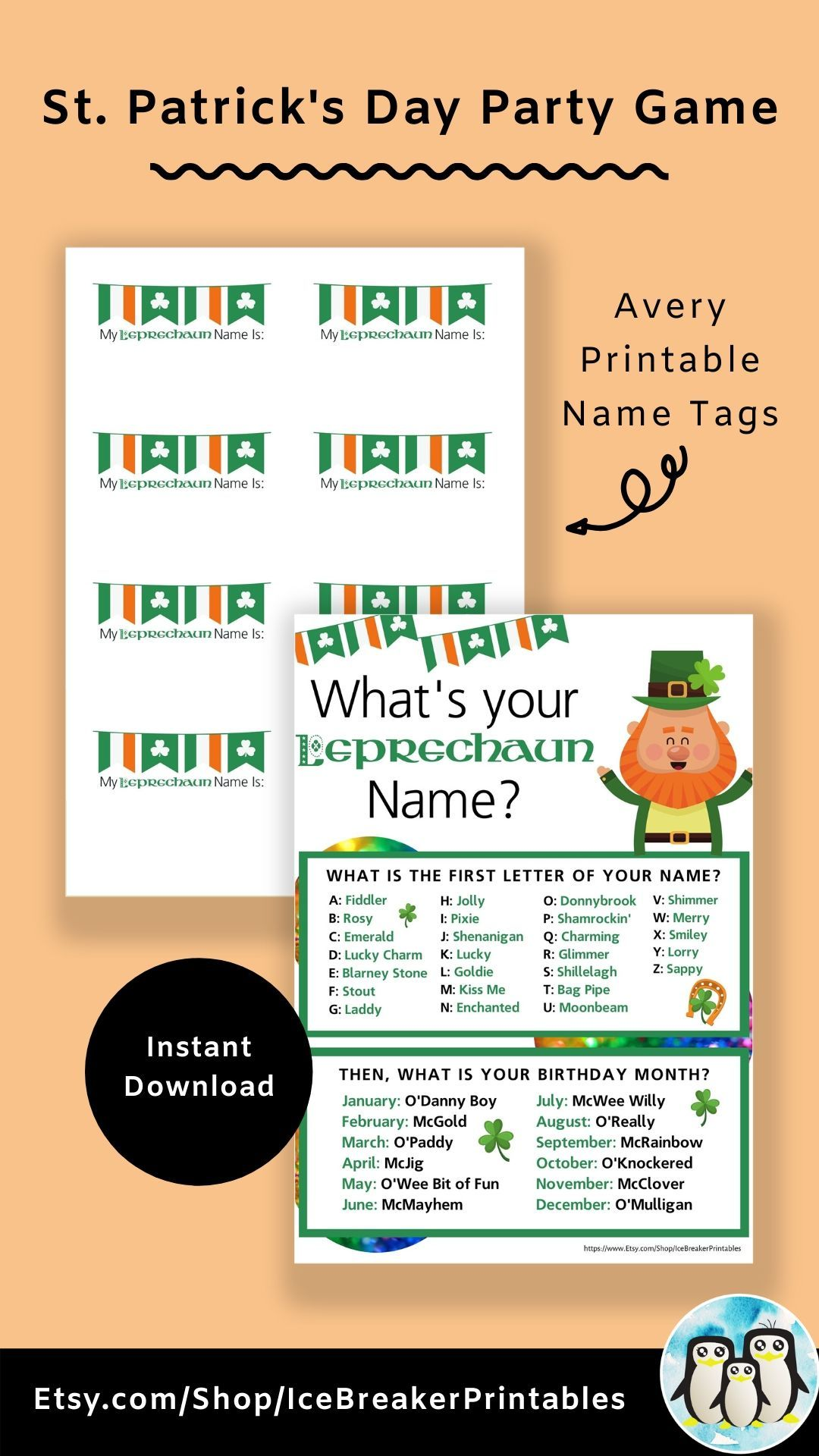 Leprechaun Party Game For A Little Luck Of The Irish For St Patrick S Day Party Fun Office Party Or St Pattys Classroom School Party Game Name Games School Party Games Funny