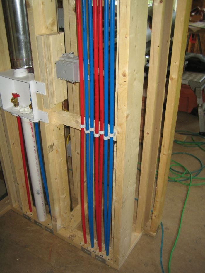 The Most Professional Install Of Pex Plumbing I Have Seen On The Internet Note The Clips As The Pex Passes Thru To Footer Pex Plumbing Diy Plumbing Pex Tubing