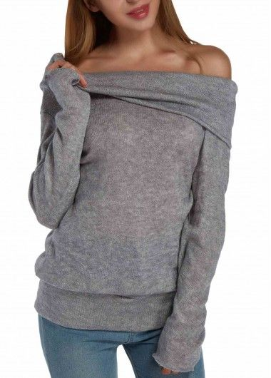 Fold Over Slash Neck Long Sleeve Sweater | Long sleeve sweater ...