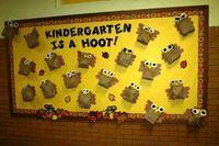fall bulletin board ideas for preschool   Kindergarten Is A Hoot Student Craft Display - MyClassroomIdeas.com
