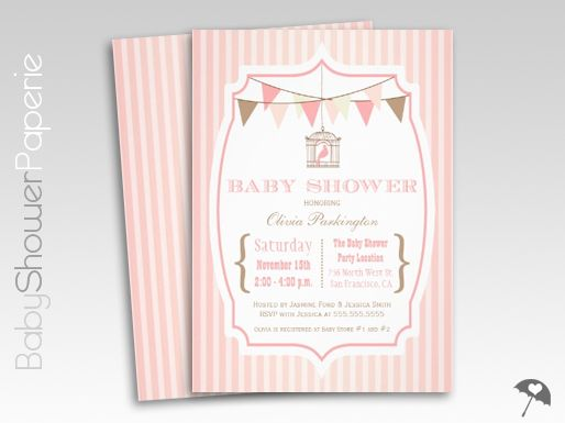 Pink Vintage Typography Birdcage Baby Shower Invitations
