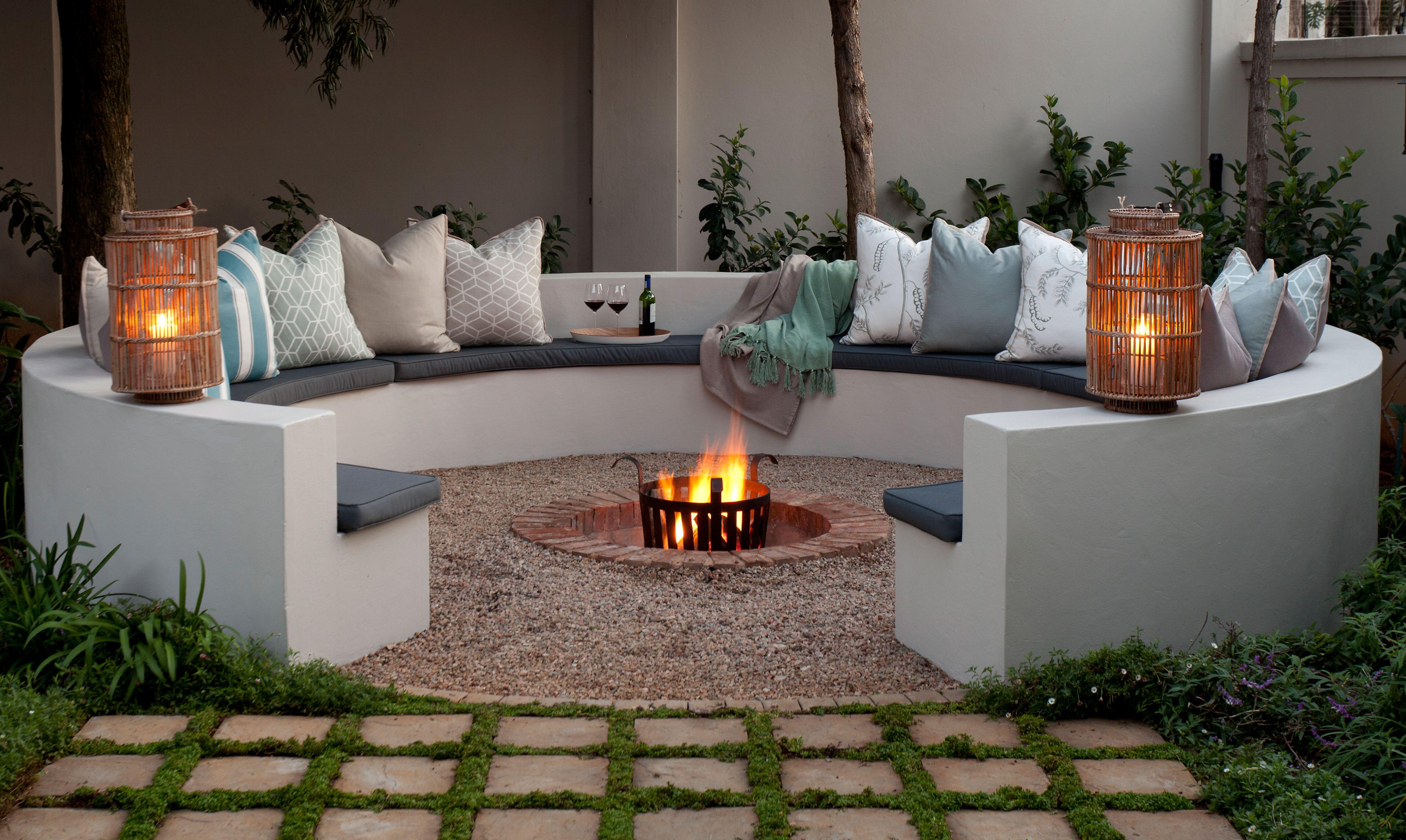 designing a stylish boma backyard sunken fire pits and patios