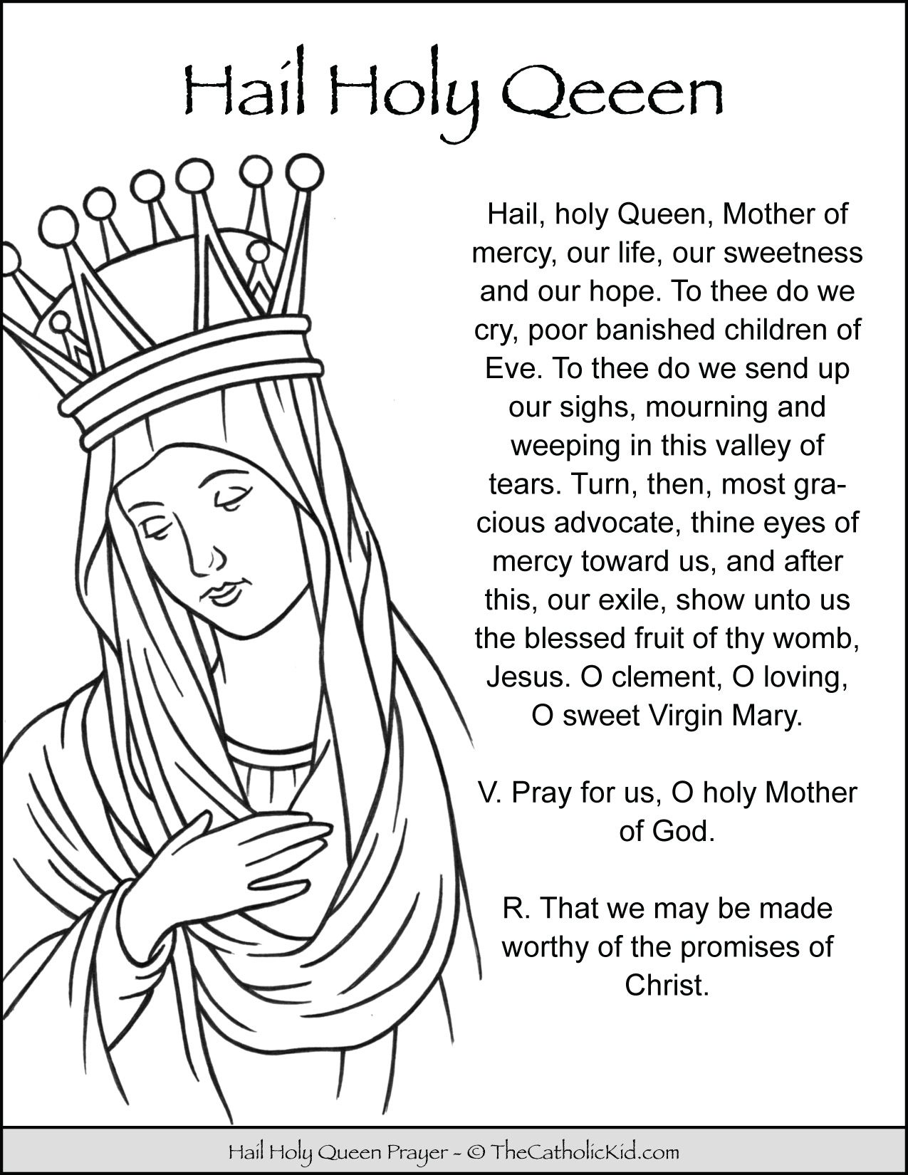 Hail Holy Queen Prayer Coloring Page Thecatholickid Com Hail Holy Queen Prayer Hail Holy Queen Prayers For Children