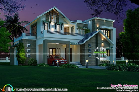 2156 Sq Ft Sloping Roof Mix Home Duplex House Design House Roof Design House Designs Exterior