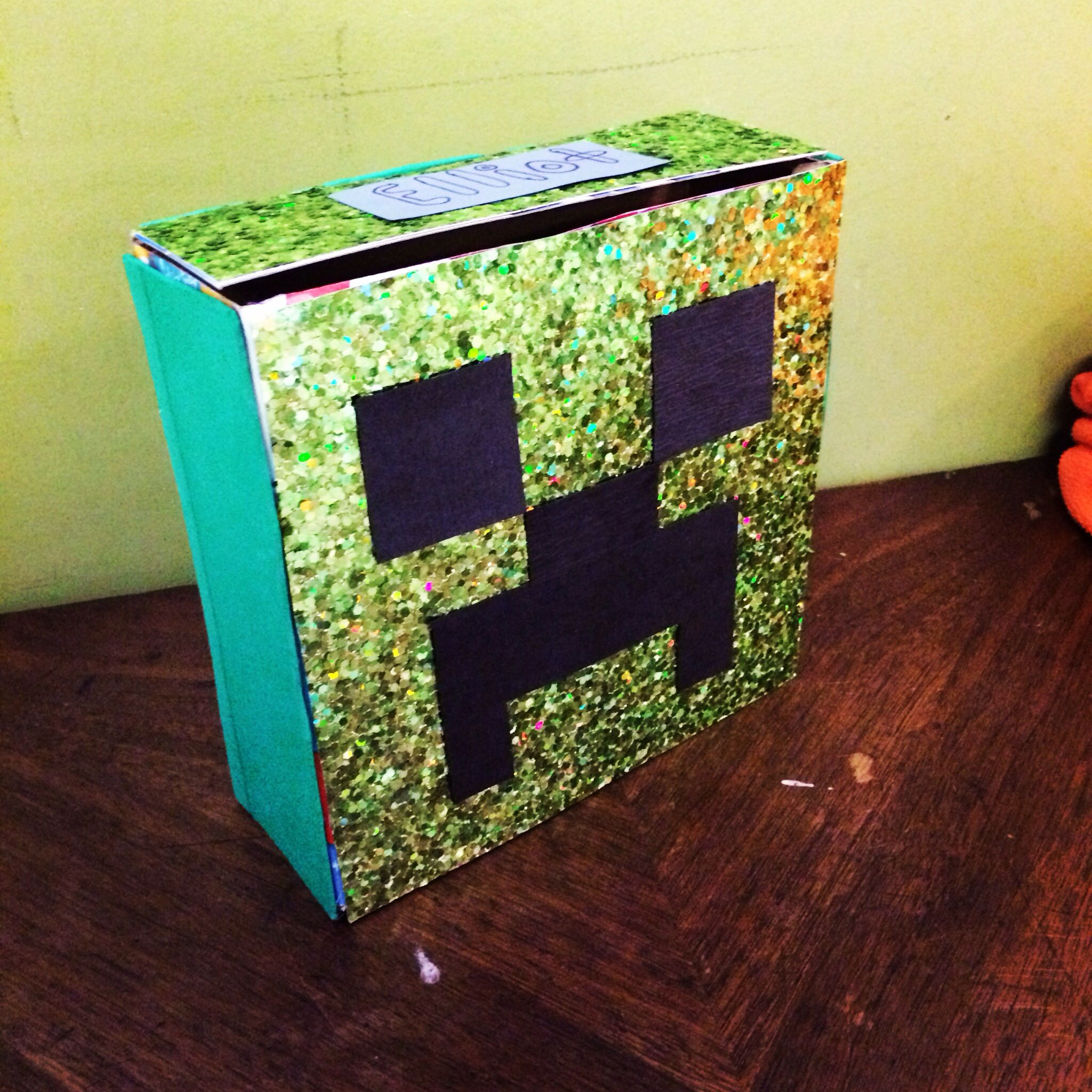 Valentines Day card box  Minecraft Creeper Cereal box cut down