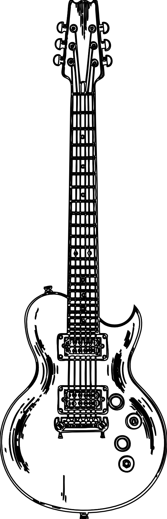 Wooden Guitar Black White Line Art Christmas Xmas Music Scalable Vector Graphics Svg Inkscape Adobe Illustrator Clip Coloring Books Digital Stamps Art Clipart